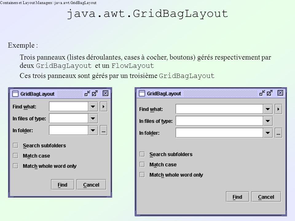 Containers et Layout Managers \ java.awt.GridBagLayout java.awt.GridBagLayout Exemple : Trois panneaux (listes déroulantes, cases à cocher, boutons) gérés respectivement par deux GridBagLayout et un FlowLayout Ces trois panneaux sont gérés par un troisième GridBagLayout