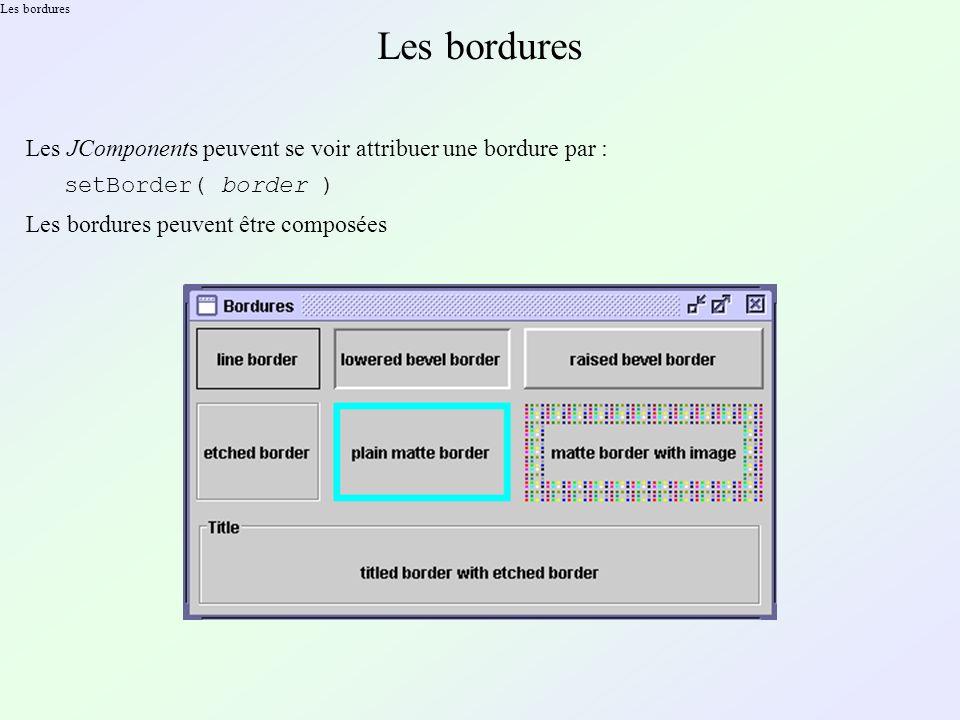 Les bordures Les JComponents peuvent se voir attribuer une bordure par : setBorder( border ) Les bordures peuvent être composées