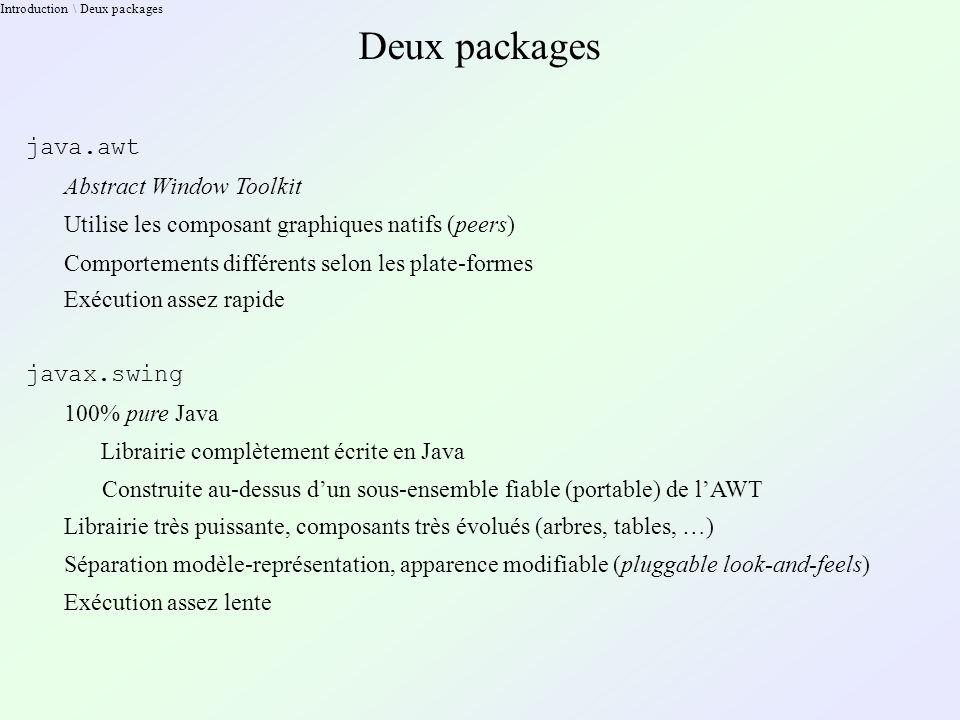 Pluggable Look & Feel Modifier le Look & Feel Les JComponent s exhibent une méthode : void setUI( ComponentUI new_ui ) Généralement, on change le L&F général : UIManager.setLookAndFeel( new_LF_class_name ); Puis on lance une mise à jour de l arbre des composants : SwingUtilities.updateComponentTreeUI( component ); component devrait être un composant racine : Component SwingUtilities.getRoot( Component component )