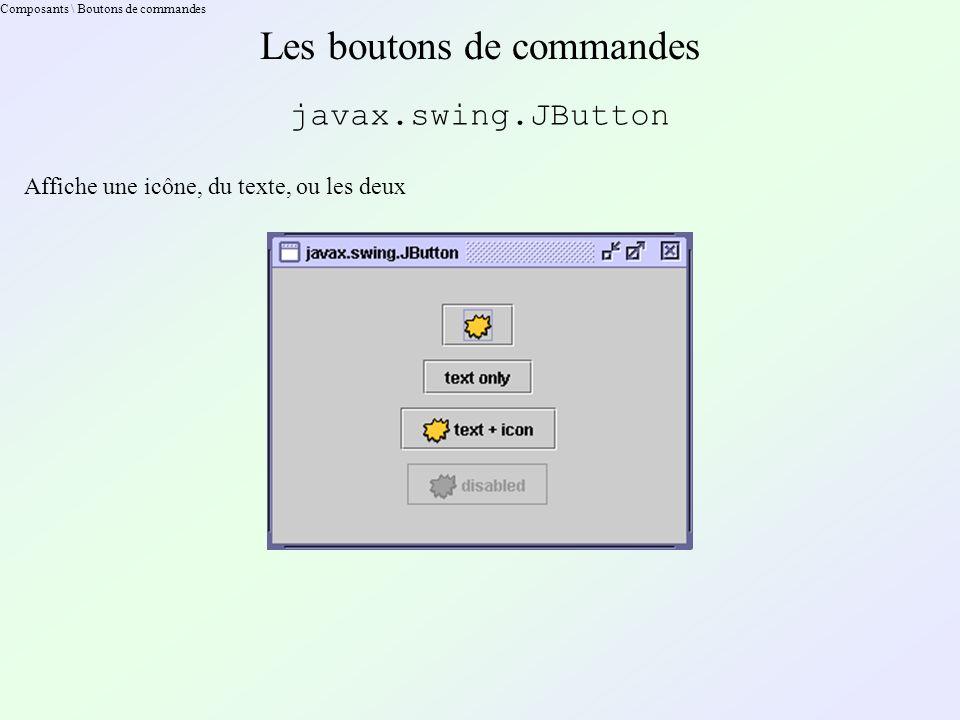 Composants \ Boutons de commandes Les boutons de commandes javax.swing.JButton Affiche une icône, du texte, ou les deux