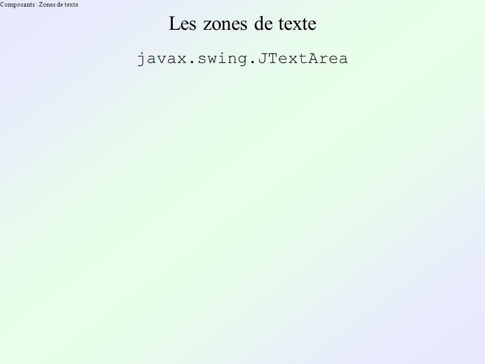 Composants \ Zones de texte Les zones de texte javax.swing.JTextArea