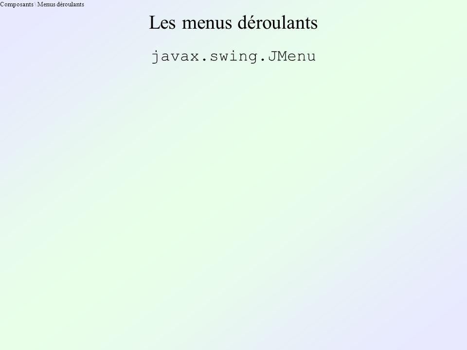 Composants \ Menus déroulants Les menus déroulants javax.swing.JMenu