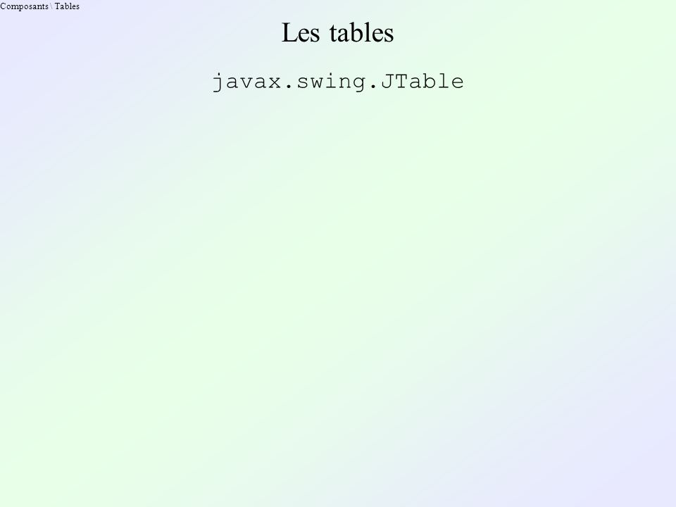Composants \ Tables Les tables javax.swing.JTable