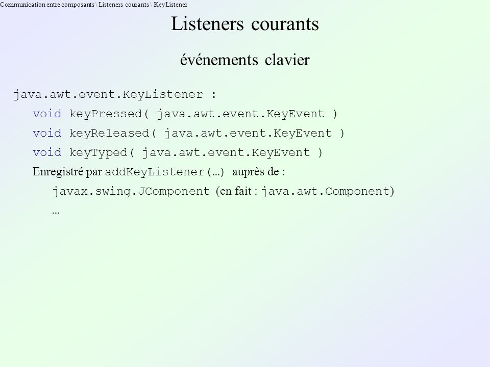 Communication entre composants \ Listeners courants \ KeyListener Listeners courants événements clavier java.awt.event.KeyListener : void keyPressed( java.awt.event.KeyEvent ) void keyReleased( java.awt.event.KeyEvent ) void keyTyped( java.awt.event.KeyEvent ) Enregistré par addKeyListener(…) auprès de : javax.swing.JComponent (en fait : java.awt.Component ) …