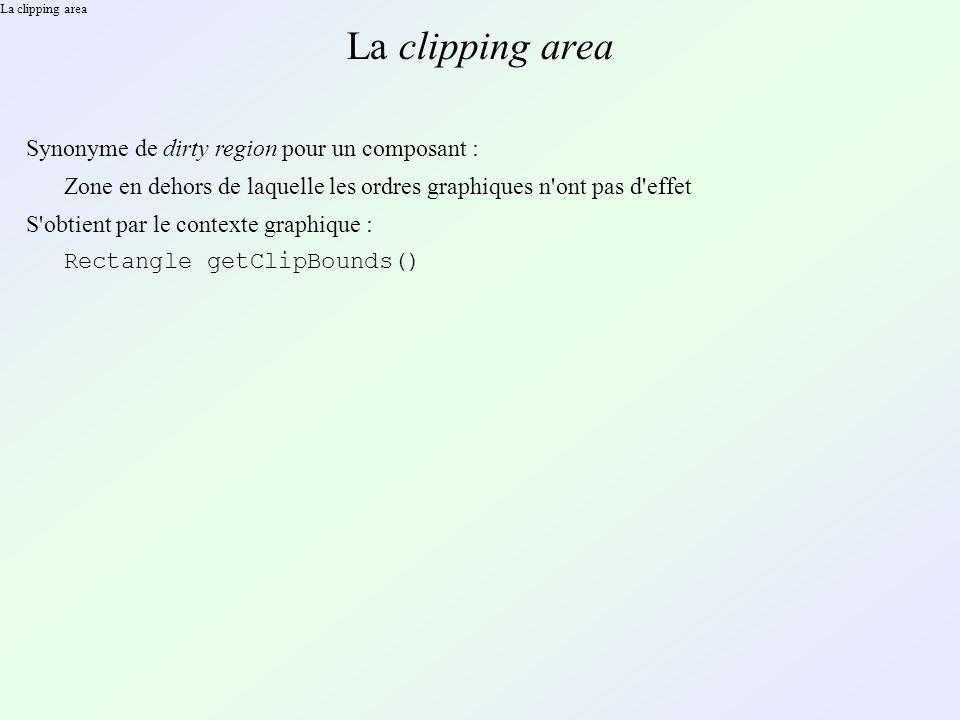 La clipping area Synonyme de dirty region pour un composant : Zone en dehors de laquelle les ordres graphiques n ont pas d effet S obtient par le contexte graphique : Rectangle getClipBounds()
