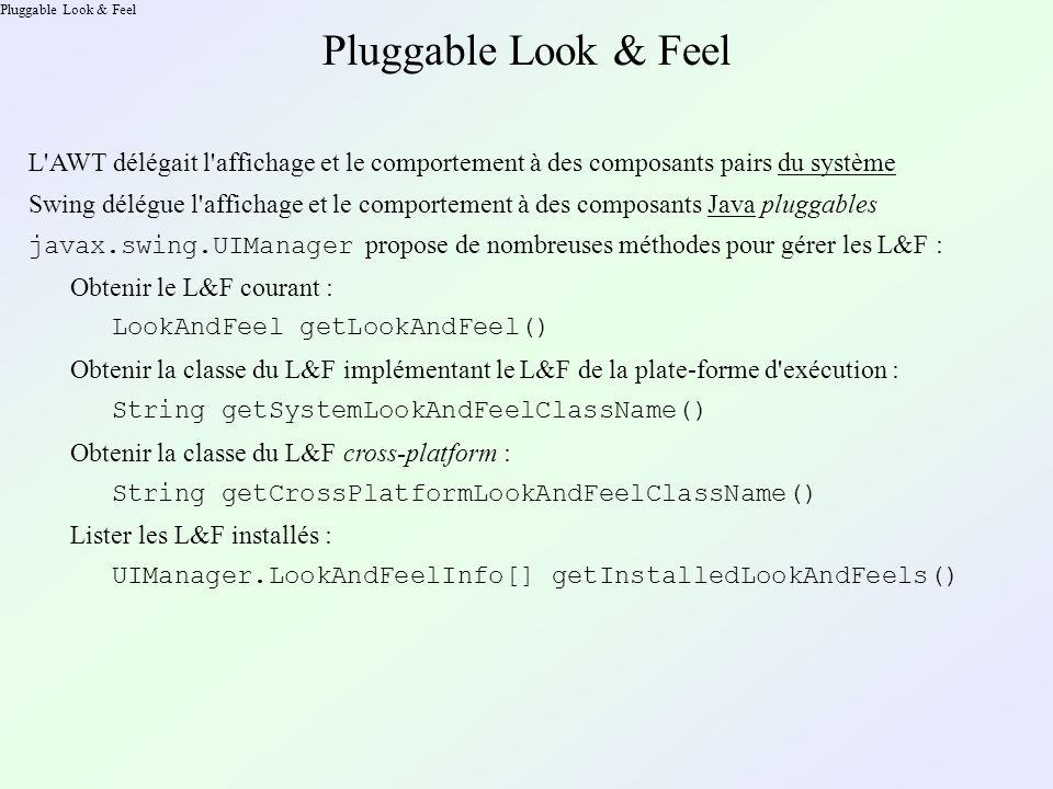 Pluggable Look & Feel L AWT délégait l affichage et le comportement à des composants pairs du système Swing délégue l affichage et le comportement à des composants Java pluggables javax.swing.UIManager propose de nombreuses méthodes pour gérer les L&F : Obtenir le L&F courant : LookAndFeel getLookAndFeel() Obtenir la classe du L&F implémentant le L&F de la plate-forme d exécution : String getSystemLookAndFeelClassName() Obtenir la classe du L&F cross-platform : String getCrossPlatformLookAndFeelClassName() Lister les L&F installés : UIManager.LookAndFeelInfo[] getInstalledLookAndFeels()