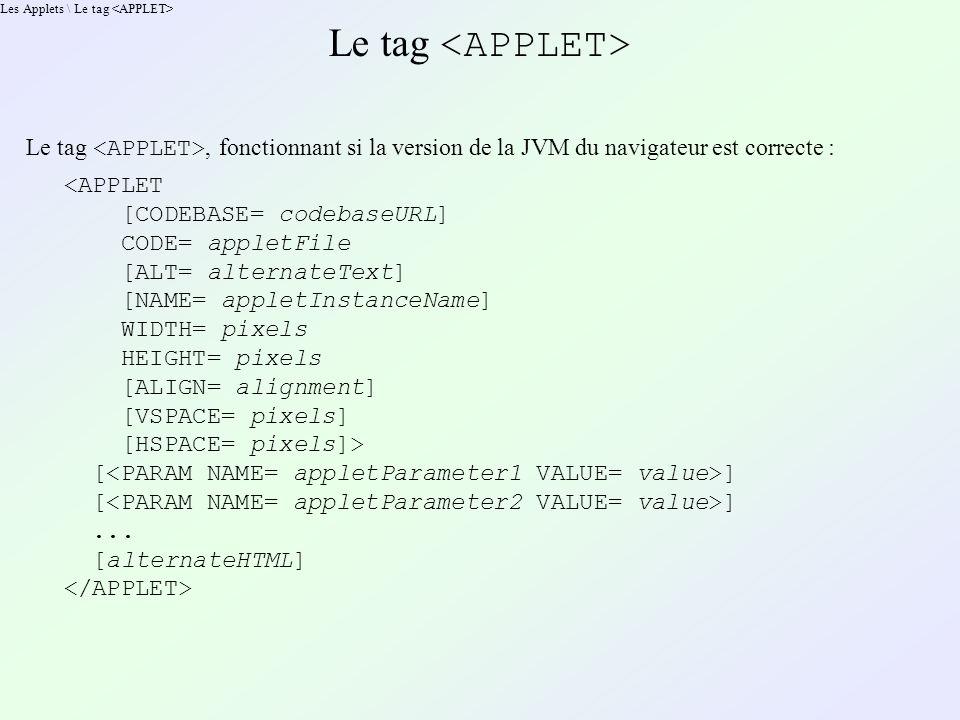 Les Applets \ Le tag Le tag Le tag, fonctionnant si la version de la JVM du navigateur est correcte : <APPLET [CODEBASE= codebaseURL] CODE= appletFile [ALT= alternateText] [NAME= appletInstanceName] WIDTH= pixels HEIGHT= pixels [ALIGN= alignment] [VSPACE= pixels] [HSPACE= pixels]> [ ]...