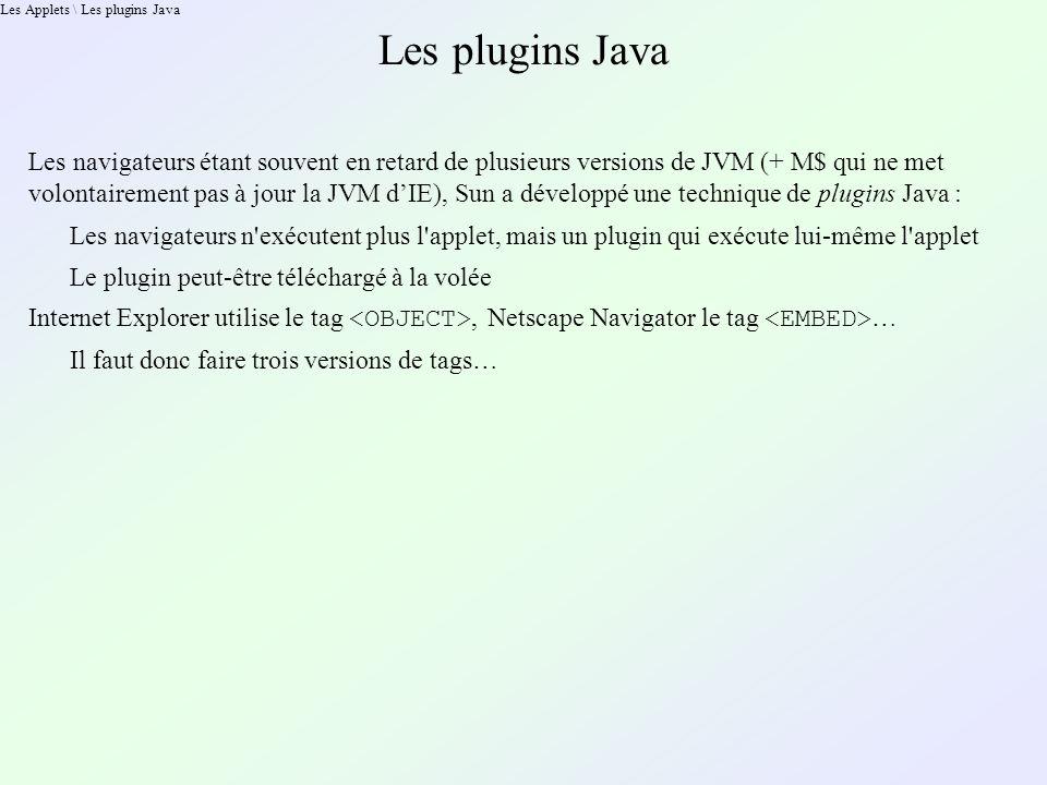 Les Applets \ Les plugins Java Les plugins Java Les navigateurs étant souvent en retard de plusieurs versions de JVM (+ M$ qui ne met volontairement pas à jour la JVM dIE), Sun a développé une technique de plugins Java : Les navigateurs n exécutent plus l applet, mais un plugin qui exécute lui-même l applet Le plugin peut-être téléchargé à la volée Internet Explorer utilise le tag, Netscape Navigator le tag … Il faut donc faire trois versions de tags…