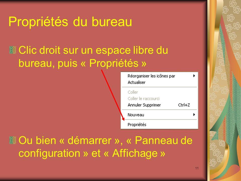 10 C. Propriétés du bureau Propriétés daffichage Thèmes Ecran de veille Apparences Paramètres