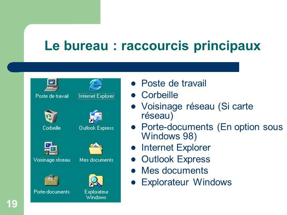18 D. Les raccourcis Raccourcis principaux Comment créer un raccourci ? Changements dapparence Renommer Aligner