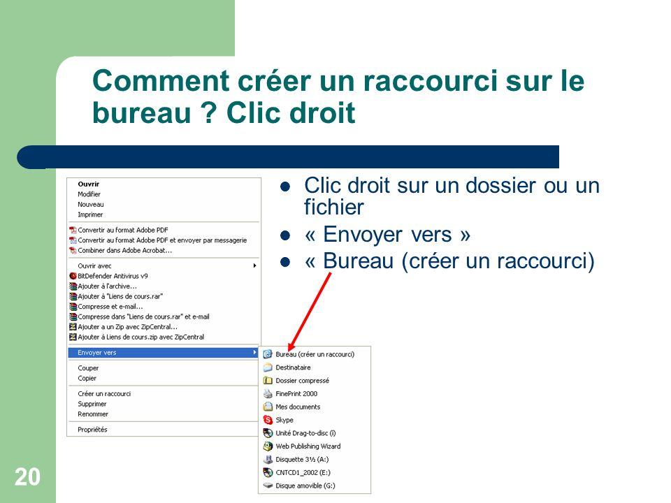 19 Le bureau : raccourcis principaux Poste de travail Corbeille Voisinage réseau (Si carte réseau) Porte-documents (En option sous Windows 98) Interne
