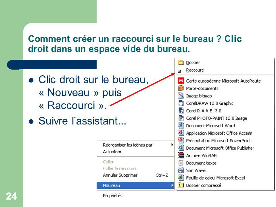 23 Comment créer un raccourci sur le bureau ? copier-coller (2) Revenir au bureau, clic droit « Coller » ou « Coller le raccourci »
