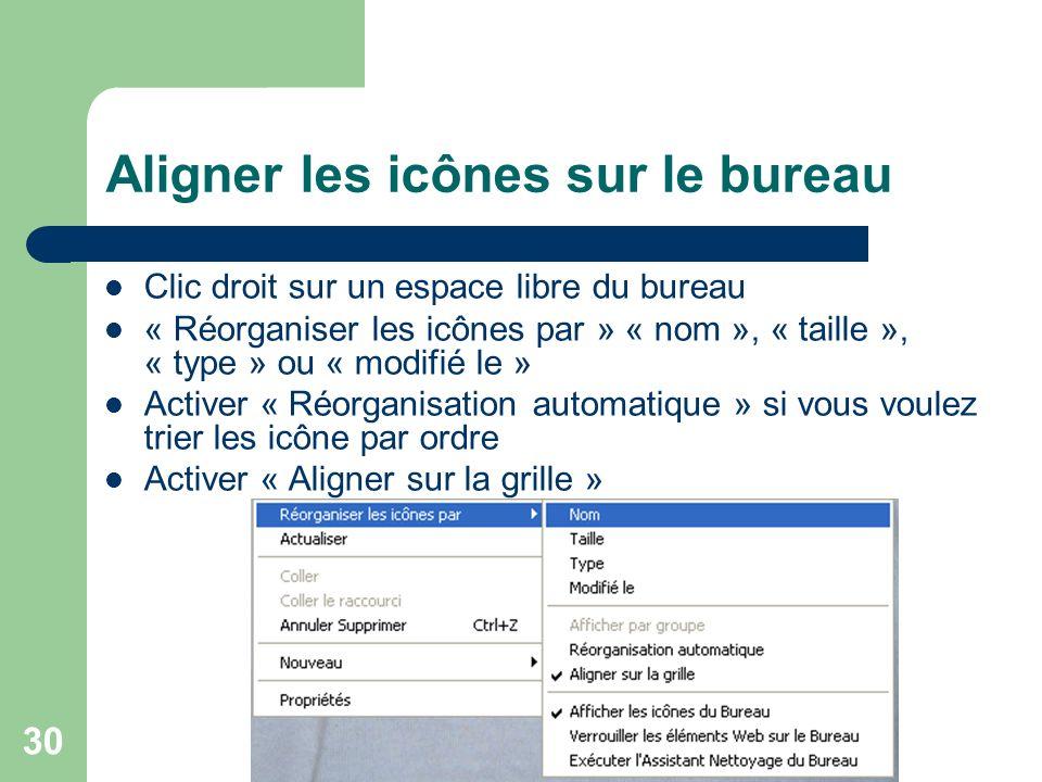 29 Renommer un raccourci Clic droit sur une icône, un fichier ou un dossier « Renommer » Entrer un nouveau nom Attention à ne pas changer lextension d