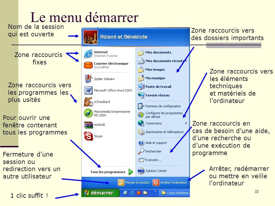 31 E. Le menu démarrer Présentation Tous les programmes Arrêter lordinateur