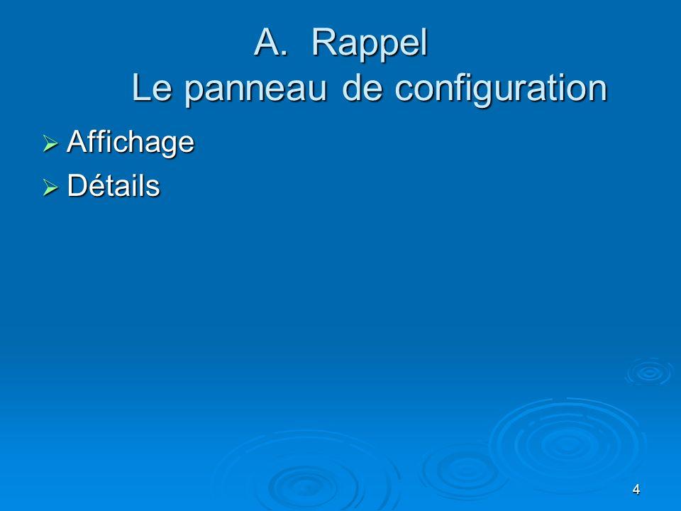 3 Plan du cours 2 A. Le panneau de configuration (Dias 4 à 7) B. Le bureau (Dias 8 – 9) C. Propriétés du bureau (Dias 10 à 17) D. Les raccourcis (Dias