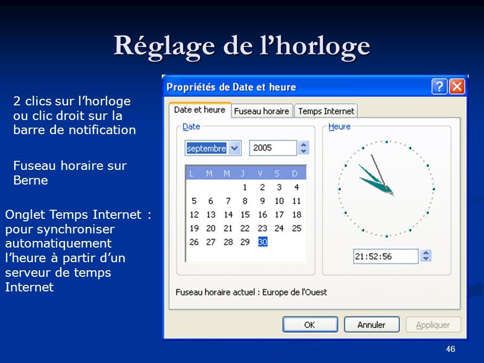 45 La barre des notifications Réglage des paramètres du matériel et de certains programmes Antivirus Connexion Internet Débit du modem Connexion résea