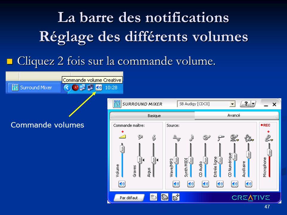 46 Réglage de lhorloge 2 clics sur lhorloge ou clic droit sur la barre de notification Fuseau horaire sur Berne Onglet Temps Internet : pour synchroni