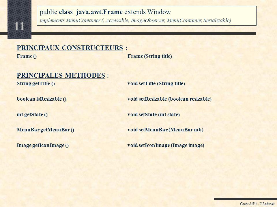 10 Cours JAVA / Y.Laborde Java : AWT / le package java.awt Le conteneur Frame public class java.awt.Frame extends Window implements MenuContainer (, A