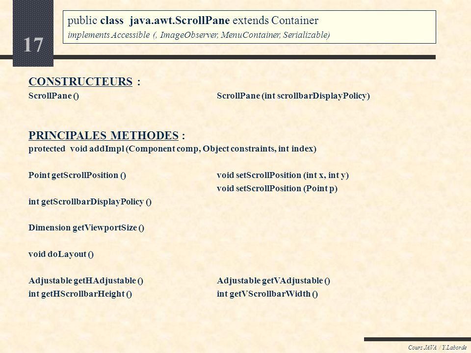 16 Cours JAVA / Y.Laborde Java : AWT / le package java.awt Le conteneur ScrollPane public class java.awt.ScrollPane extends Container implements Acces