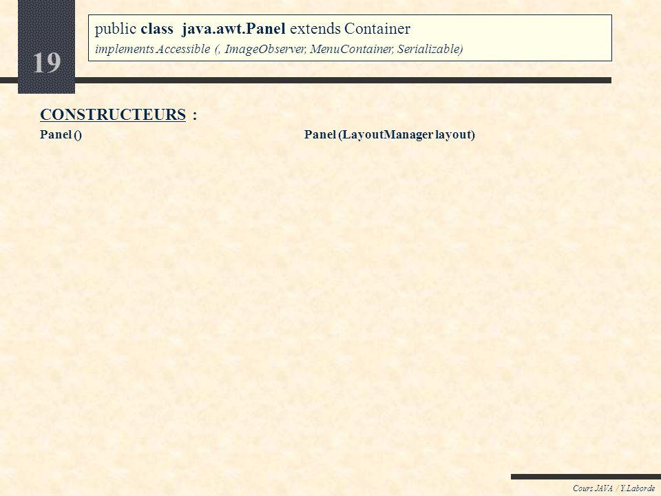 18 Cours JAVA / Y.Laborde Java : AWT / le package java.awt Le conteneur Panel public class java.awt.Panel extends Container implements Accessible (, I