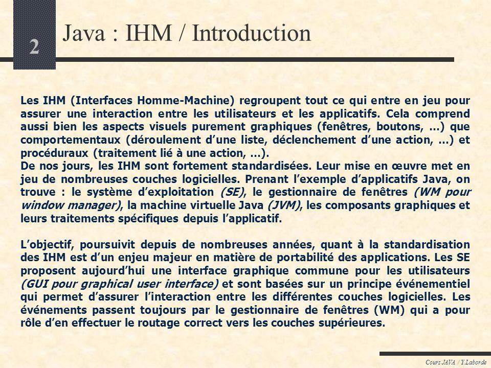 1 Cours JAVA / Y.Laborde Java : Interface Homme-Machine LES CONCEPTS de LIHM : Introduction LAWT (Abstract Window Toolkit) le package java.awt les com