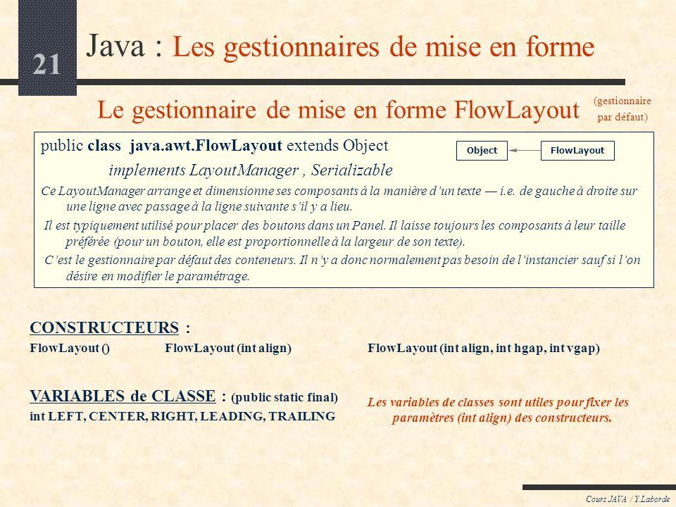 20 Cours JAVA / Y.Laborde Java : AWT / le package java.awt Les gestionnaires de mise en forme Les gestionnaires de mise en forme (layout manager) sont