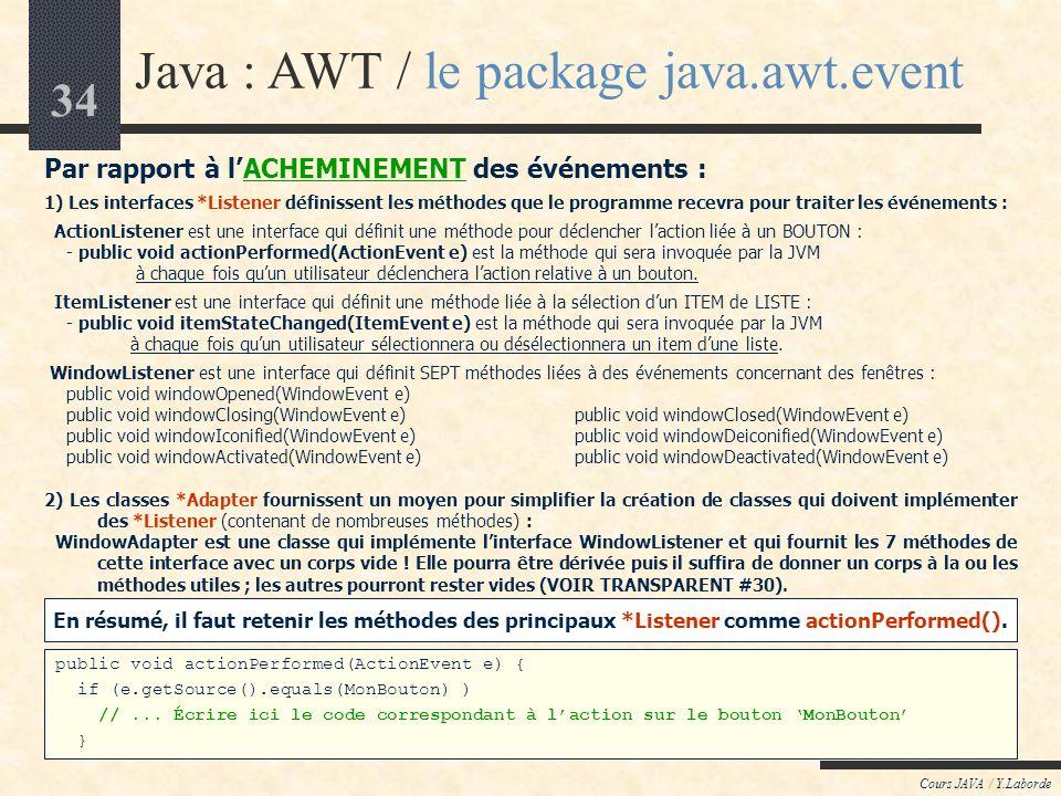 33 Cours JAVA / Y.Laborde Java : AWT / le package java.awt.event Par rapport à la CONSTRUCTION des événements : 1) Tous les événements de lAWT dériven