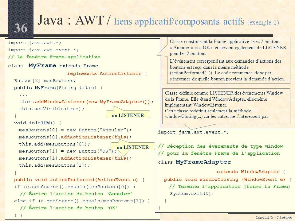 35 Cours JAVA / Y.Laborde Java : AWT / liens entre applicatif et composants actifs Si les événements (*Event) sont automatiquement générés par la JVM,