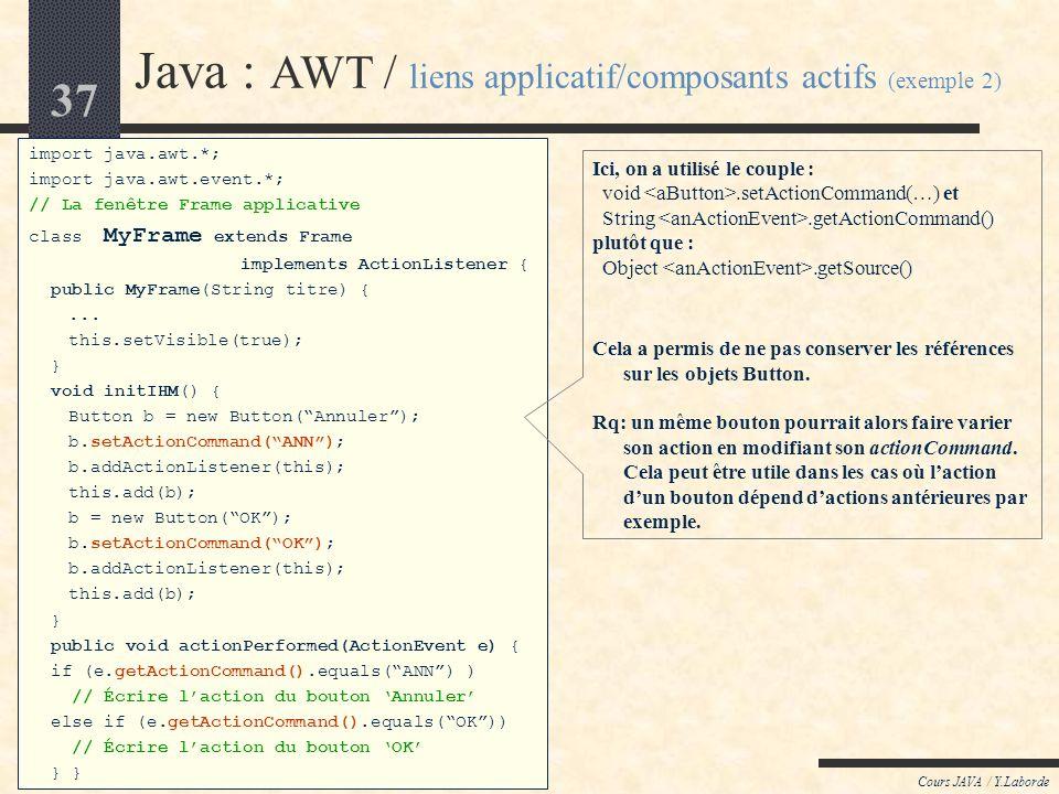 36 Cours JAVA / Y.Laborde Java : AWT / liens applicatif/composants actifs (exemple 1) import java.awt.*; import java.awt.event.*; // La fenêtre Frame