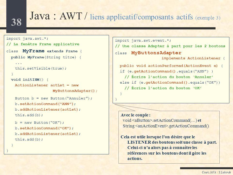 37 Cours JAVA / Y.Laborde Java : AWT / liens applicatif/composants actifs (exemple 2) import java.awt.*; import java.awt.event.*; // La fenêtre Frame