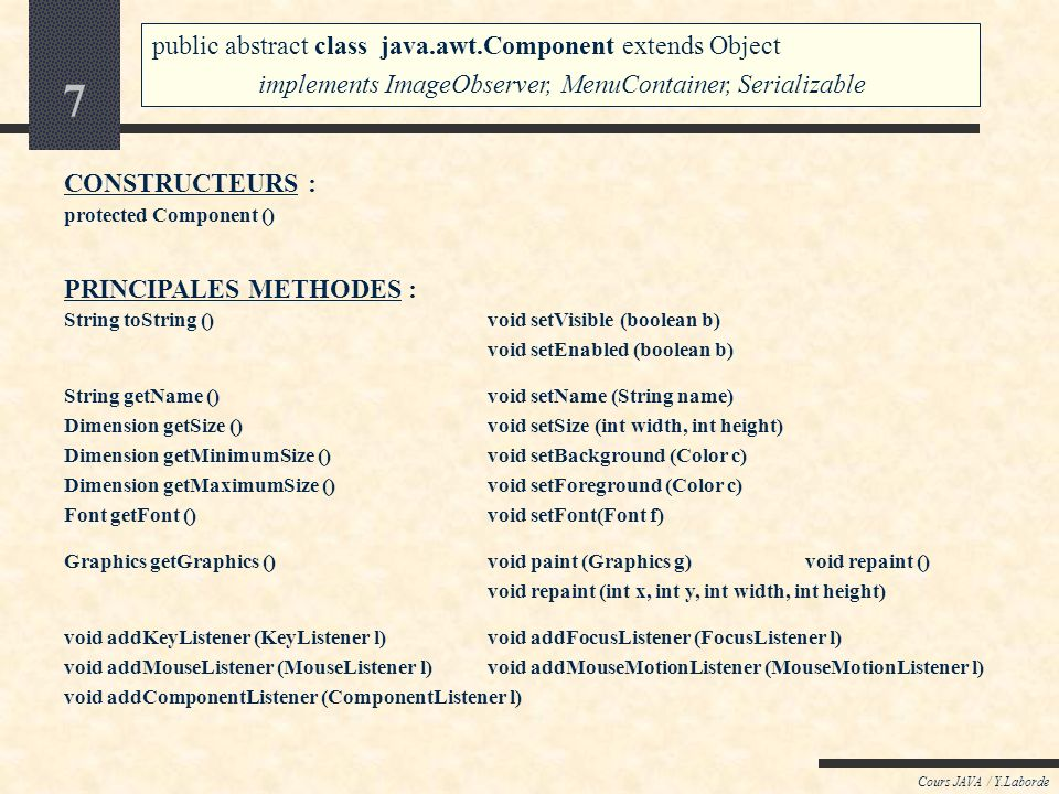 7 Cours JAVA / Y.Laborde CONSTRUCTEURS : protected Component () String toString () void setVisible (boolean b) void setEnabled (boolean b) String getName ()void setName (String name) Dimension getSize ()void setSize (int width, int height) Dimension getMinimumSize ()void setBackground (Color c) Dimension getMaximumSize ()void setForeground (Color c) Font getFont ()void setFont(Font f) Graphics getGraphics () void paint (Graphics g)void repaint () void repaint (int x, int y, int width, int height) void addKeyListener (KeyListener l)void addFocusListener (FocusListener l) void addMouseListener (MouseListener l)void addMouseMotionListener (MouseMotionListener l) void addComponentListener (ComponentListener l) PRINCIPALES METHODES : public abstract class java.awt.Component extends Object implements ImageObserver, MenuContainer, Serializable