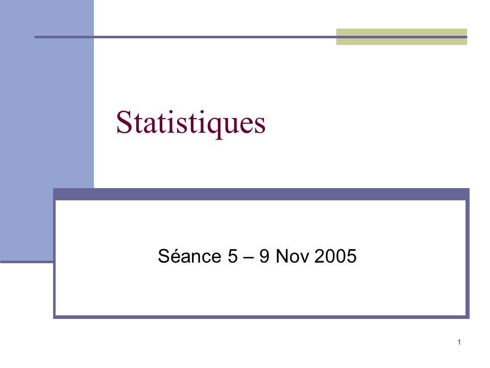 1 Statistiques Séance 5 – 9 Nov 2005