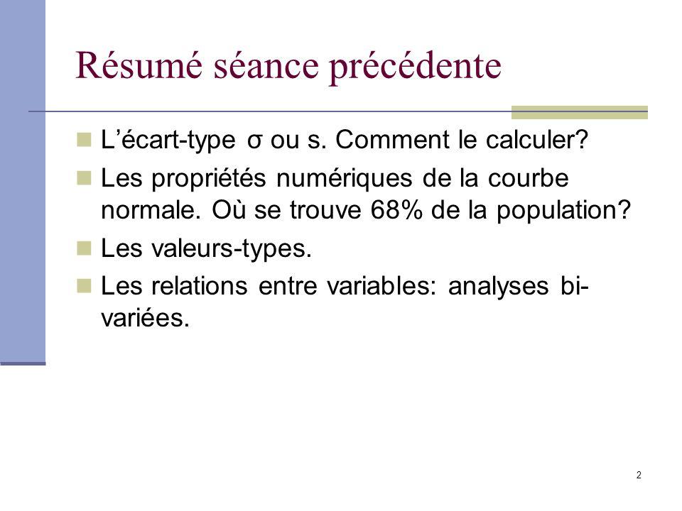 2 Résumé séance précédente Lécart-type σ ou s. Comment le calculer.