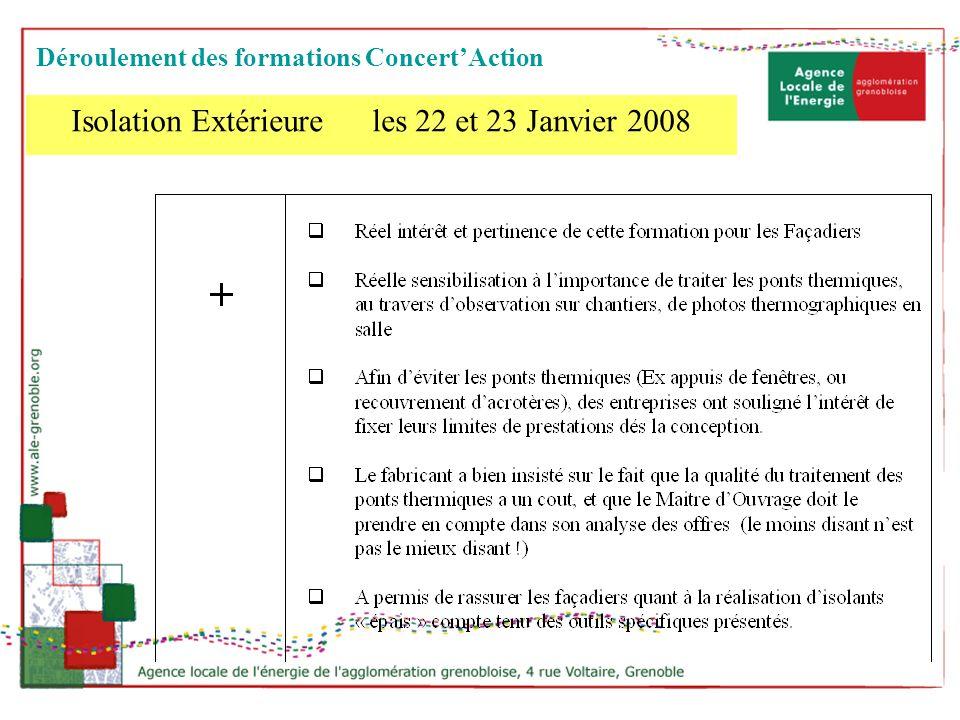 Isolation Extérieure les 22 et 23 Janvier 2008 Déroulement des formations ConcertAction