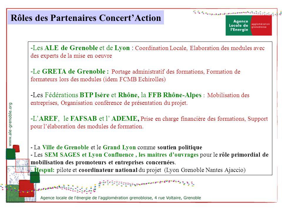 -Les ALE de Grenoble et de Lyon : Coordination Locale, Elaboration des modules avec des experts de la mise en oeuvre -Le GRETA de Grenoble : Portage a