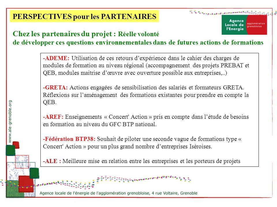 PERSPECTIVES pour les PARTENAIRES -ADEME: Utilisation de ces retours dexpérience dans le cahier des charges de modules de formation au niveau régional