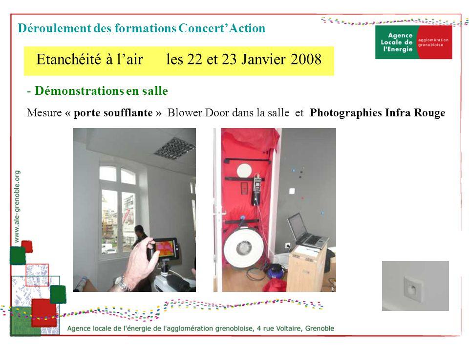 - Démonstrations en salle Mesure « porte soufflante » Blower Door dans la salle et Photographies Infra Rouge Etanchéité à lair les 22 et 23 Janvier 20