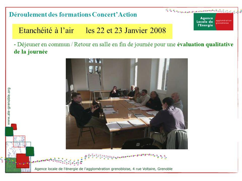 - Déjeuner en commun / Retour en salle en fin de journée pour une évaluation qualitative de la journée Etanchéité à lair les 22 et 23 Janvier 2008 Dér