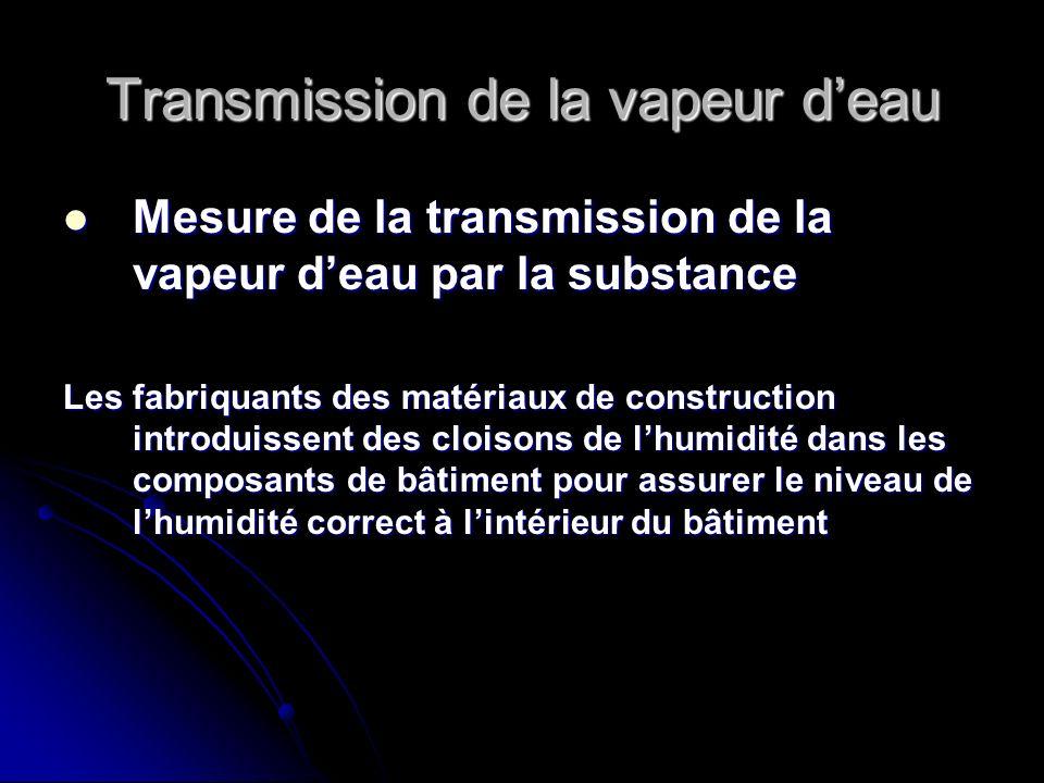 Transmission de la vapeur deau Mesure de la transmission de la vapeur deau par la substance Mesure de la transmission de la vapeur deau par la substan