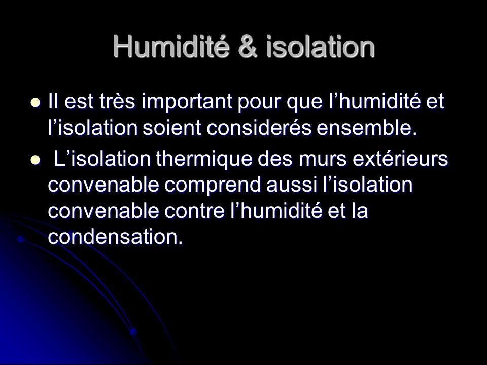 Humidité & isolation Il est très important pour que lhumidité et lisolation soient considerés ensemble. Il est très important pour que lhumidité et li
