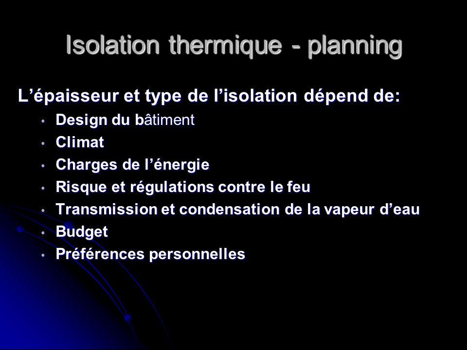 Isolation thermique - planning Lépaisseur et type de lisolation dépend de: Design du bâtiment Design du bâtiment Climat Climat Charges de lénergie Cha