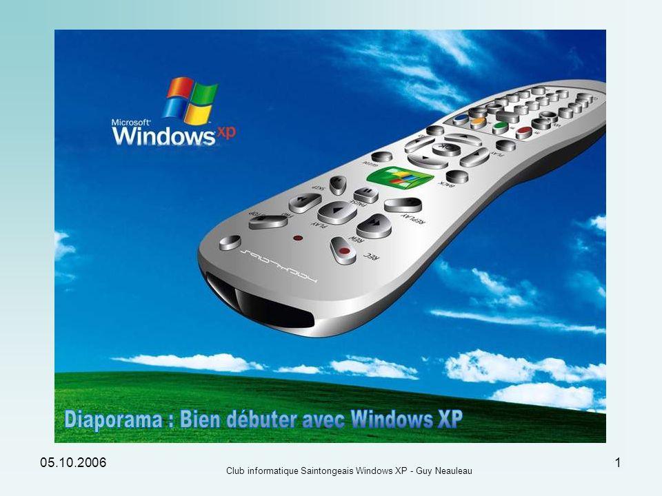 05.10.2006 Club informatique Saintongeais Windows XP - Guy Neauleau 12 Les Menus du bouton Démarrer : Le nom de lutilisateur connecté La liste des prog.