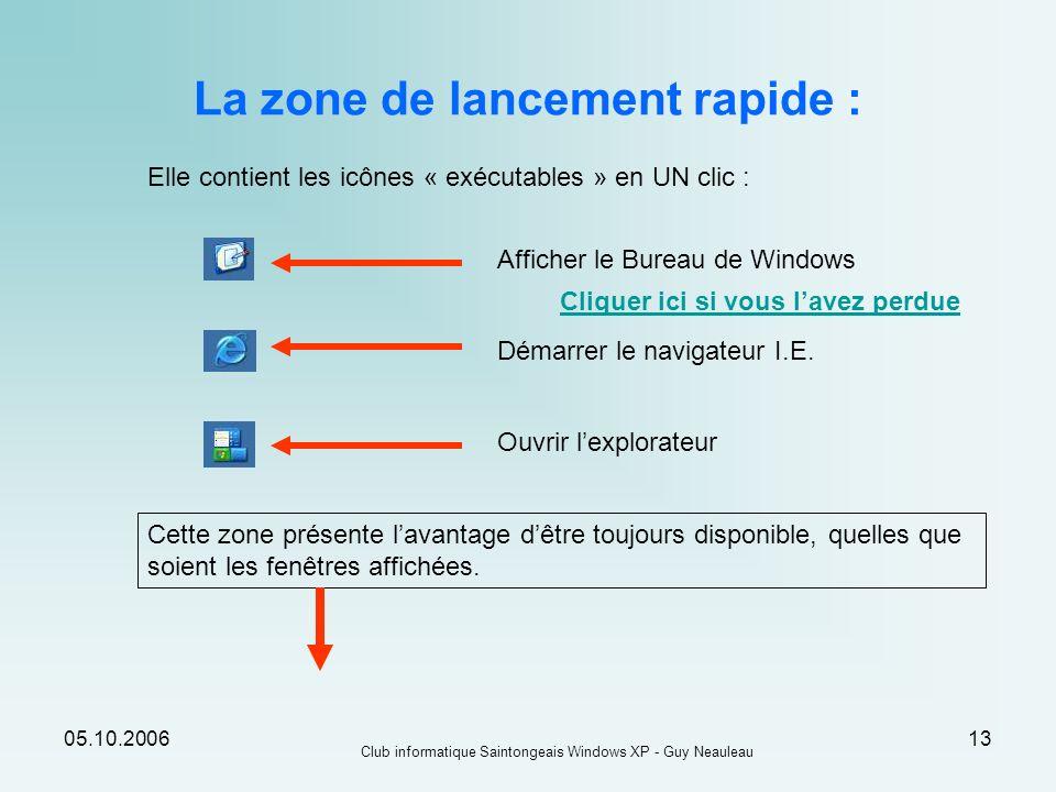 05.10.2006 Club informatique Saintongeais Windows XP - Guy Neauleau 13 La zone de lancement rapide : Elle contient les icônes « exécutables » en UN cl