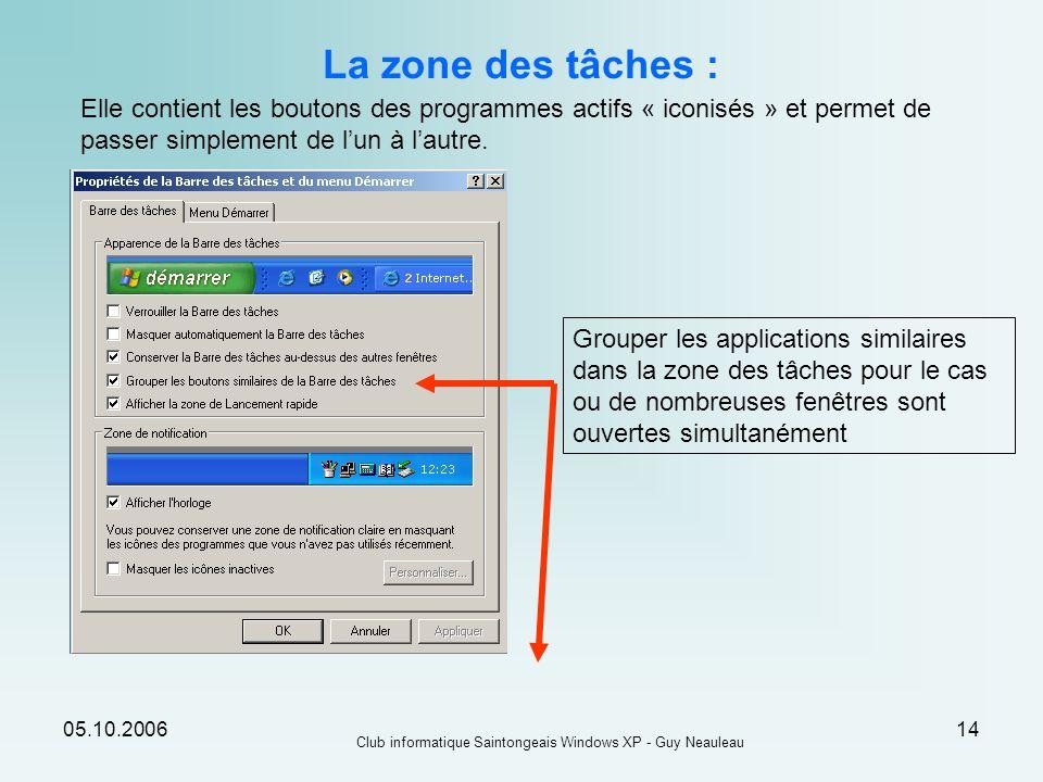 05.10.2006 Club informatique Saintongeais Windows XP - Guy Neauleau 14 La zone des tâches : Elle contient les boutons des programmes actifs « iconisés
