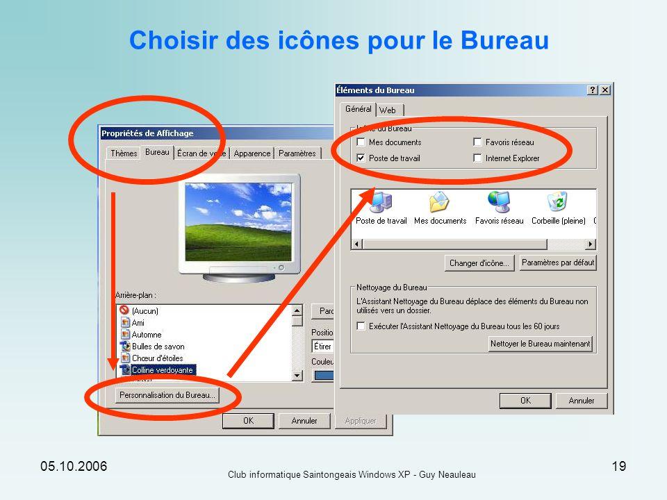05.10.2006 Club informatique Saintongeais Windows XP - Guy Neauleau 19 Choisir des icônes pour le Bureau