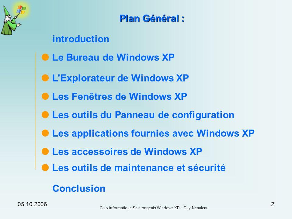 05.10.2006 Club informatique Saintongeais Windows XP - Guy Neauleau 2 Le Bureau de Windows XP Plan Général : Les Fenêtres de Windows XP Les outils du