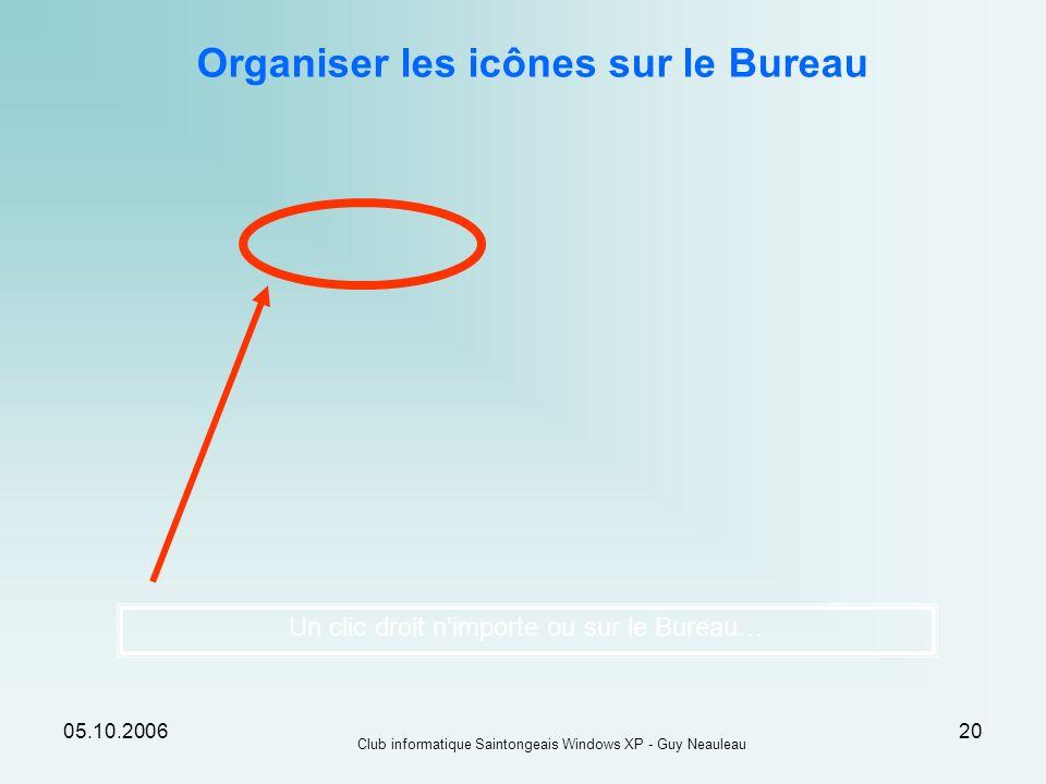 05.10.2006 Club informatique Saintongeais Windows XP - Guy Neauleau 20 Organiser les icônes sur le Bureau Un clic droit nimporte ou sur le Bureau…