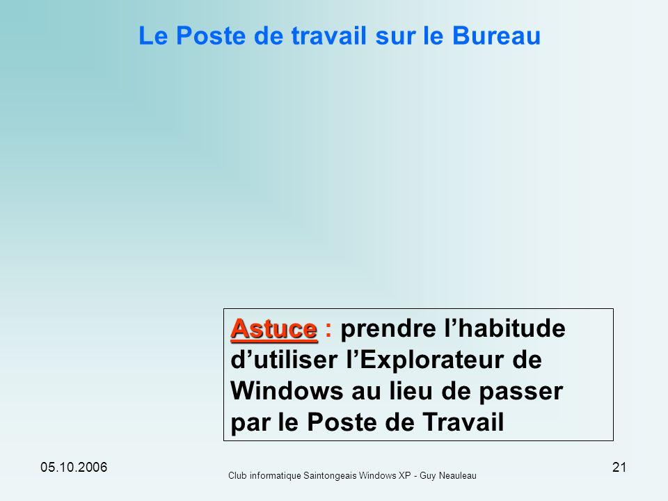 05.10.2006 Club informatique Saintongeais Windows XP - Guy Neauleau 21 Le Poste de travail sur le Bureau Astuce Astuce : prendre lhabitude dutiliser l