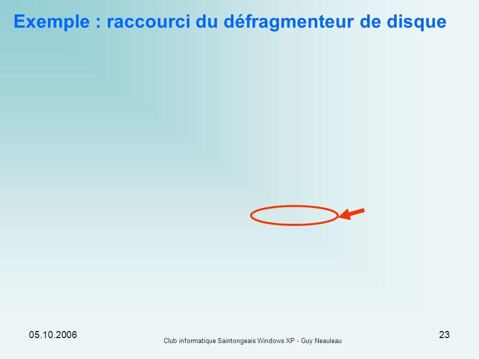 05.10.2006 Club informatique Saintongeais Windows XP - Guy Neauleau 23 Exemple : raccourci du défragmenteur de disque