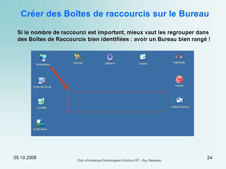 05.10.2006 Club informatique Saintongeais Windows XP - Guy Neauleau 24 Créer des Boîtes de raccourcis sur le Bureau Si le nombre de raccourci est impo